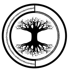 Yggdrasil world tree tattoo or print design vector
