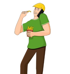 Young man eating while talking on the phone vector