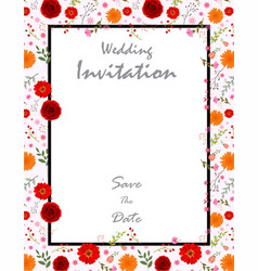beautiful wedding invitation card with flowers vector image vector image