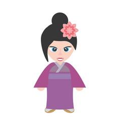 Cute girl chinese kimono sakura flower vector