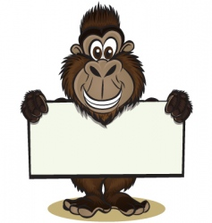 cute gorilla holding sign vector image vector image