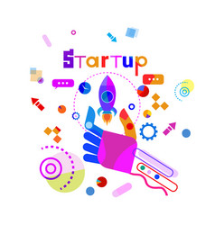 Hand holding space ship business startup vector