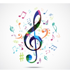 Abstract background Colorful music notes vector image vector image