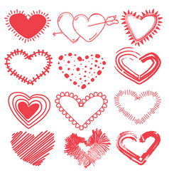 doodles set of valentines day hearts vector image vector image