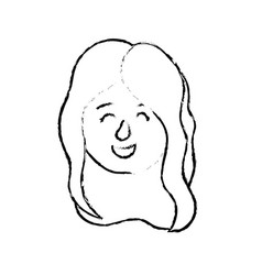 Figure avatar woman head with hairstyle design vector