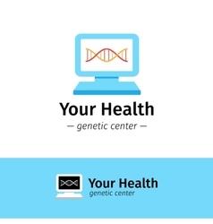 flat medical center logo DNA diagnostic vector image vector image
