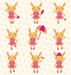 Rabbit girls set vector image vector image
