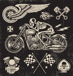 Scratchboard Motorcycle Elements vector image vector image