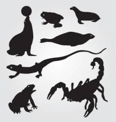 seals frogs lizards and scorpions vector image vector image