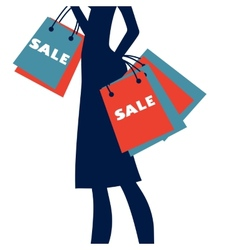 Silhouette of a woman shopping at sales vector image vector image