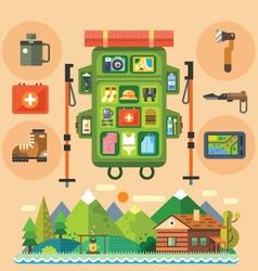 Traveler backpack vector image vector image