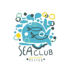creative hand drawn sea club logo template design vector image