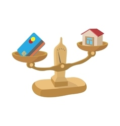 Credit card and house on scales icon vector image