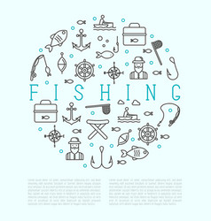 fishing concept in circle with thin line icons vector image