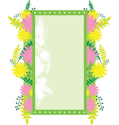frame rectangular with abstract flowers vector image vector image