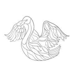 monochrome hand drawn zentagle of swan Coloring vector image vector image