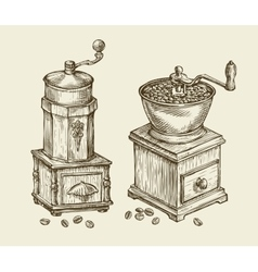 Vintage coffee grinder hand drawn sketch hot vector