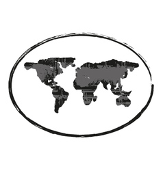 black grunge earth map stamp style symbol 1 vector image vector image