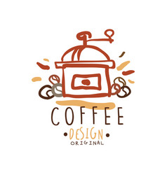hand drawn original logo design with coffee vector image