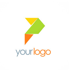 shape letter p origami logo vector image