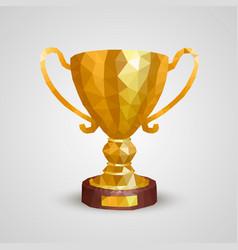 winner cup 3d polygon vector image