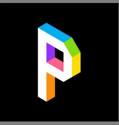 3d colorful letter p logo icon design template vector image