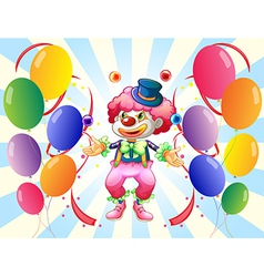 A clown with a colorful costume surrounded by vector