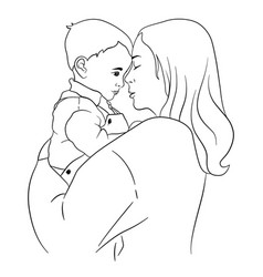 A mother holds small child in her arms vector
