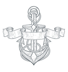Anchor tied with rope and ribbon banner hand vector