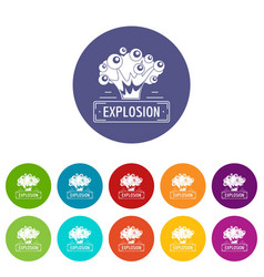 art explosion icons set color vector image