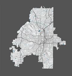 Atlanta map detailed map atlanta city poster vector