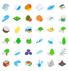 Autumn tree icons set isometric style vector