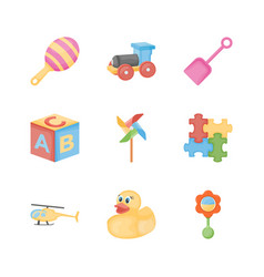Baby toys flat icons vector