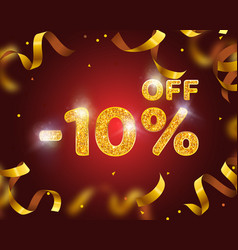 Banner 10 off with share discount percentage gold vector