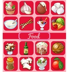 Big food set of 16 icons on a pink background vector