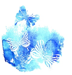 Bluel background with watercolor butterfly vector image