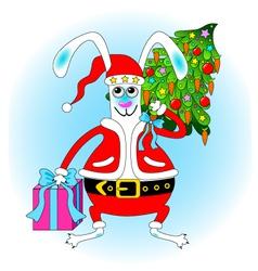 bunny santa claus vector image