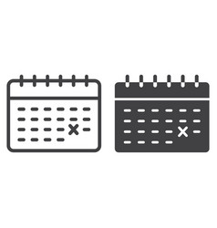 calendar line and glyph icon time and date vector image
