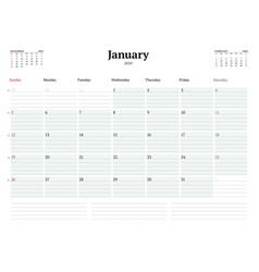 Calendar template for january 2020 business vector