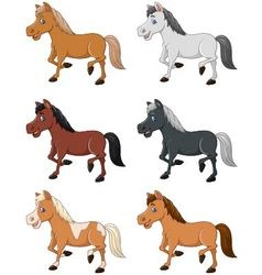 Cartoon horse collection set isolated on white bac vector