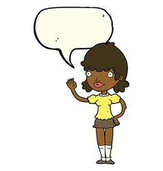 Cartoon waving woman with speech bubble vector