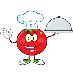 Chef Tomato Cartoon with a Platter vector