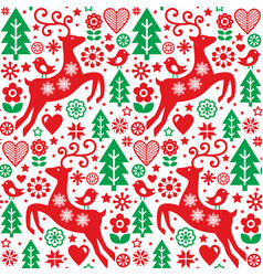 Christmas folk red and green seamless pattern vector