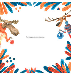 Christmas watercolor frame with moose and deer vector
