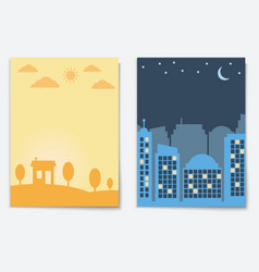 city landscape night and day town banners isolated vector image