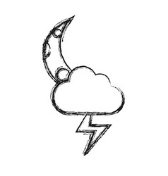 cloud and moon icon vector image