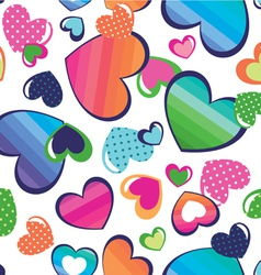 color hearts seamless background vector image