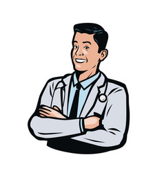 confident male doctor medicine hospital logo or vector image
