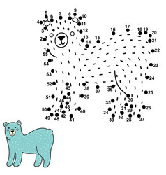 Connect dots and draw a cute polar bear vector