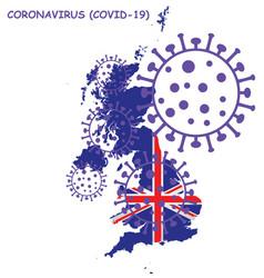 Coronavirus covid 19 united kingdom map vector